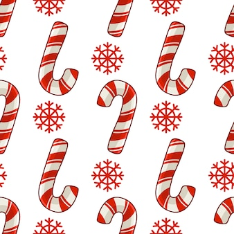 Boże narodzenie bezszwowe wzór z trzciny cukrowej cukierki i płatki śniegu, czerwone kolory, niekończące się tekstury