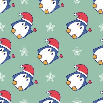 Boże narodzenie bezszwowe wzór z uroczym pingwinem świętującym boże narodzenie