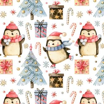 Boże narodzenie bezszwowe wzór z uroczymi pingwinami i choinką