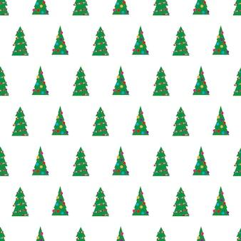 Boże narodzenie bezszwowe wzór z zielonych choinek z kolorowymi zabawkami, kulkami i girlandami. ilustracja wektorowa