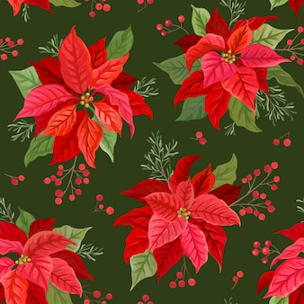 Boże narodzenie bezszwowe wzór z zima kwiat, poinsecja, jemioła, gałęzie drzewa jarzębiny z jagodami. ręcznie rysowane ilustracji wektorowych kwiatowy do pakowania papieru, tekstyliów, tkanin, nadruków, tapet