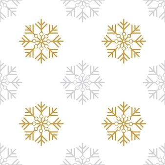 Boże narodzenie bezszwowe wzór złote i srebrne płatki śniegu na białym tle