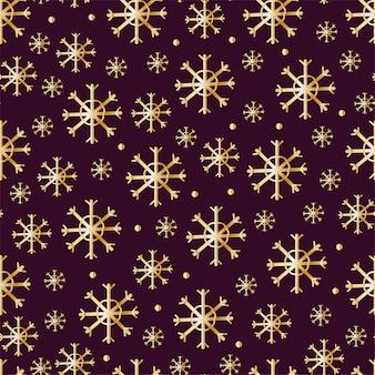 Boże narodzenie bezszwowe wzory drukuje ze złotymi elementami złote przedmioty na ciemnym tle