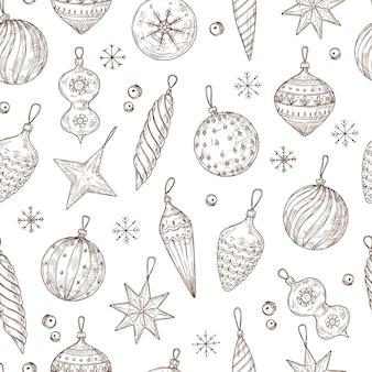 Boże narodzenie bombki wzór. ozdoby choinkowe i płatki śniegu. ferie zimowe, nowy rok wektor ręcznie rysowane tekstury włókienniczych