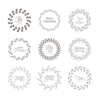Boże narodzenie botaniczny vintage wieniec, zimowe elementy projektu kaligrafii, ozdoba nowy rok, wiruje ramki na zaproszenie, ślub, notatnik, pozdrowienia świąteczne xmas card. zestaw ilustracji wektorowych