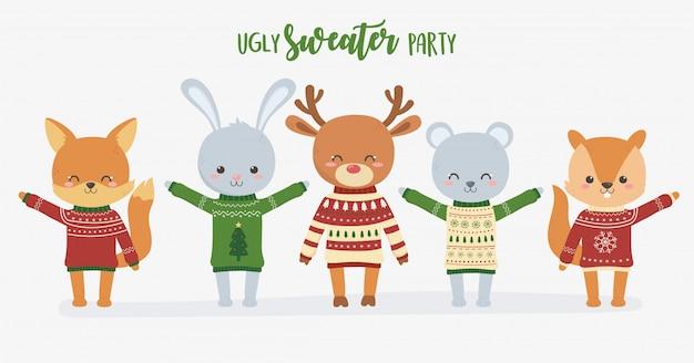 Boże narodzenie brzydki sweter party ładny zestaw zwierząt
