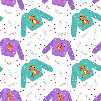 Boże narodzenie brzydki sweter wzór. świąteczny powtarzalny nadruk. nowy rok w tle.
