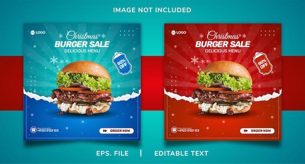 Boże narodzenie burger sprzedaż promocja w mediach społecznościowych i projekt szablonu baneru na instagram