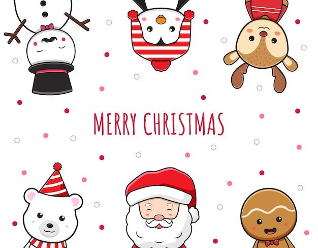 Boże narodzenie charakter pozdrowienia wesołych świąt kreskówka doodle karty tło ilustracja