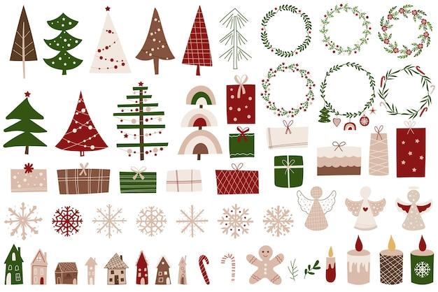 Boże narodzenie clip art zestaw ozdoby, drzewa, prezenty i płatki śniegu. ilustracja wektorowa.