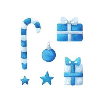 Boże narodzenie clipart w kolorze niebieskim. cukierkowa laska, prezent, gwiazda, zabawka choinkowa.