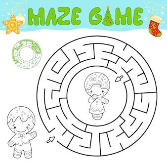 Boże narodzenie czarno-biały labirynt gra logiczna dla dzieci. zarys koła labirynt lub labirynt gry z bożonarodzeniowym piernikowym ludzikiem