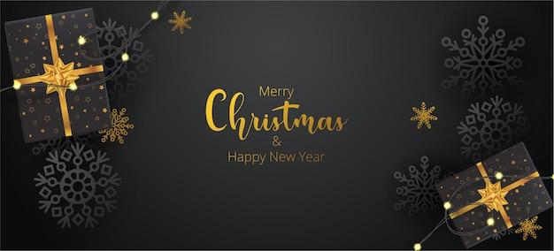 Boże narodzenie czarno-złote tło z prezentami świątecznymi i płatkami śniegu. ilustracja wektorowa. do projektowania ulotki, banera, plakatu, zaproszenia. wesołych świąt i szczęśliwego nowego roku w tle