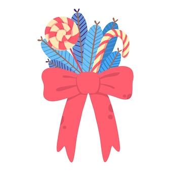 Boże narodzenie czerwona kokarda z ikoną kija lizak i cukierki. kreskówka mieszkanie boże narodzenie czerwona kokarda z ikoną wektora lizaka i cukierków do projektowania stron internetowych na białym tle