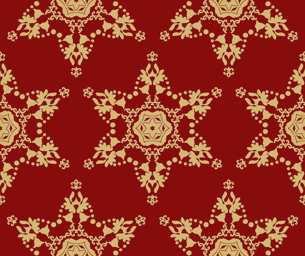 Boże narodzenie czerwone tło ze złotymi gwiazdami bez szwu wzorów czerwone tło ze złotymi ornamentami