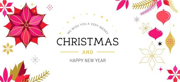 Boże narodzenie czerwony klasyczny, kartka z życzeniami, baner z kwiatami bożonarodzeniowymi, ozdoby i napis
