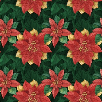 Boże narodzenie czerwony zielony gwiazda poinsettia wzór