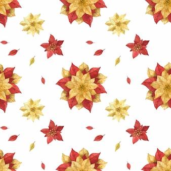 Boże narodzenie czerwony złoty poinsettia akwarela bezszwowe wzór