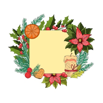 Boże narodzenie czy nowy rok wakacje grawerowanie ramki z ostrokrzewu, jodły, jagody, świeca, ciasteczko na białym tle. kwadratowy świąteczny szablon pocztówki w stylu vintage. świąteczna granica z elementami sezonowymi