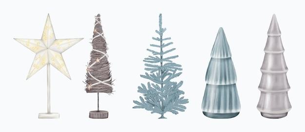 Boże narodzenie dekoracje figurki drzewa i gwiazda