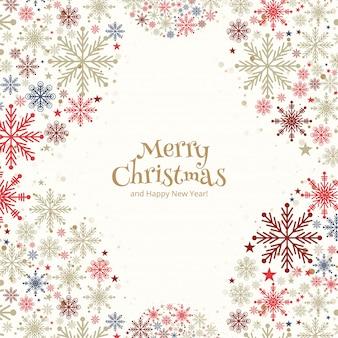 Boże narodzenie dekoracyjne kolorowe płatki śniegu kartkę z życzeniami
