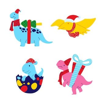 Boże narodzenie dinozaur płaska konstrukcja zestaw. wektor ilustracja.
