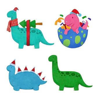 Boże narodzenie dinozaur wektor set.illustration akwarela.