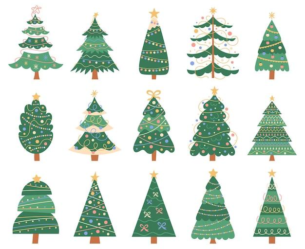 Boże narodzenie doodle drzew doodle boże narodzenie jodły zimowe wakacje dekoracje na białym tle zestaw symboli wektorowych