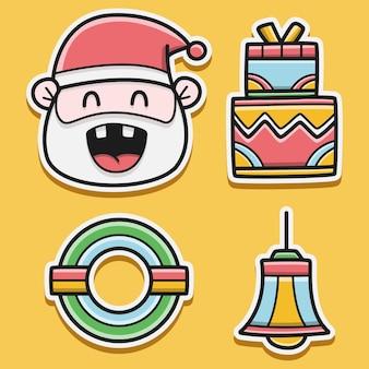 Boże Narodzenie Doodle Projekt Naklejki Premium Wektorów
