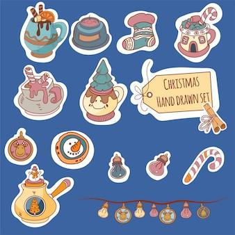 Boże narodzenie doodle styl zestaw z elementami świątecznymi