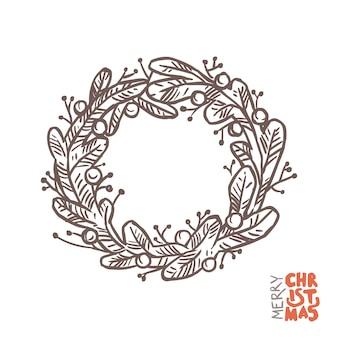 Boże narodzenie doodle wieniec wykonany z gałęzi świerkowych lub sosnowych. szkic ręcznie rysowane ilustracji