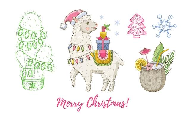 Boże narodzenie doodle zwierzę lama, kokos, kaktus z zestawem girlandy.