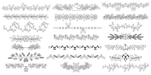 Boże narodzenie dzielniki doodle. boże narodzenie wakacje kwiatowy granic, kwiaty ozdobne, liście i jagody dzielniki wektor zestaw ilustracji. świąteczne separatory kwiatowe