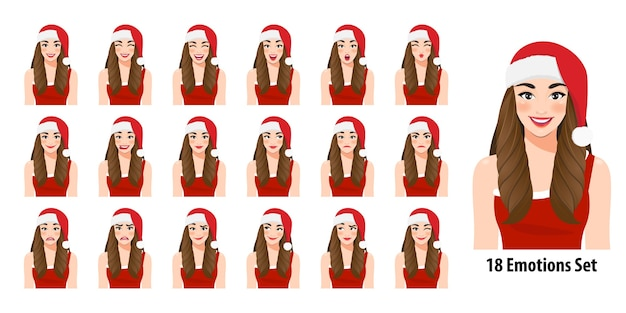 Boże narodzenie dziewczyna w czerwonej sukience i boże narodzenie santa hat z różnymi mimikami ustawionymi na białym tle w stylu kreskówki ilustracja