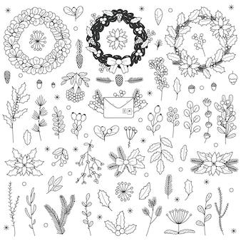 Boże narodzenie elementy kwiatowe. boże narodzenie ręcznie rysowane liście, gałęzie, holly jagody i jarzębiny doodle wektor zestaw ilustracji. dekoracyjne świąteczne symbole kwiatowe