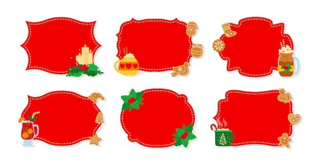 Boże narodzenie etykieta i tag czerwony płaski zestaw. tagi noworoczne zdobione przedmioty, jemioła ostrokrzew, zabawki ciasteczka ze słodyczami, świeca. kolekcja wakacje kreskówka boże narodzenie kolekcja etykiet patcha. ilustracja