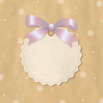 Boże narodzenie etykieta z różową wstążką, z siatką gradientu