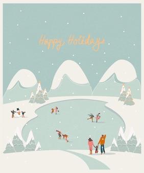 Boże narodzenie ferie zimowe krajobraz. ludzie na łyżwach na lodowatym jeziorze z dziećmi, bałwan. koncepcja zajęć zimowych.