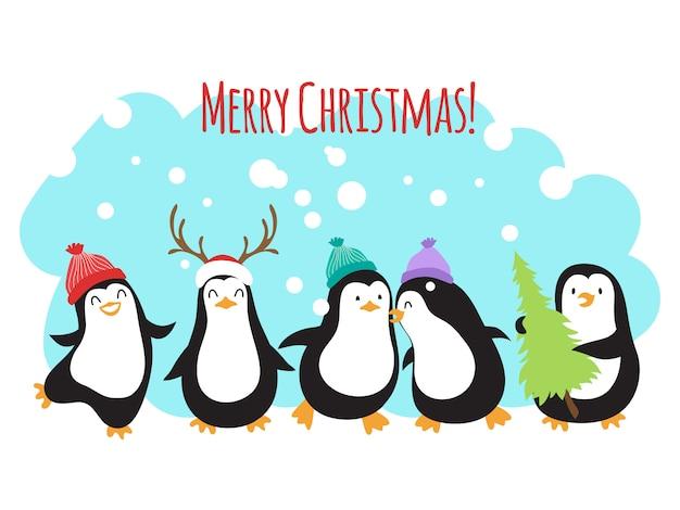 Boże narodzenie ferie zimowe pozdrowienia transparent lub tło z cute pingwiny kreskówek