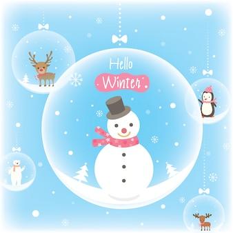 Boże narodzenie-globusy-śnieg