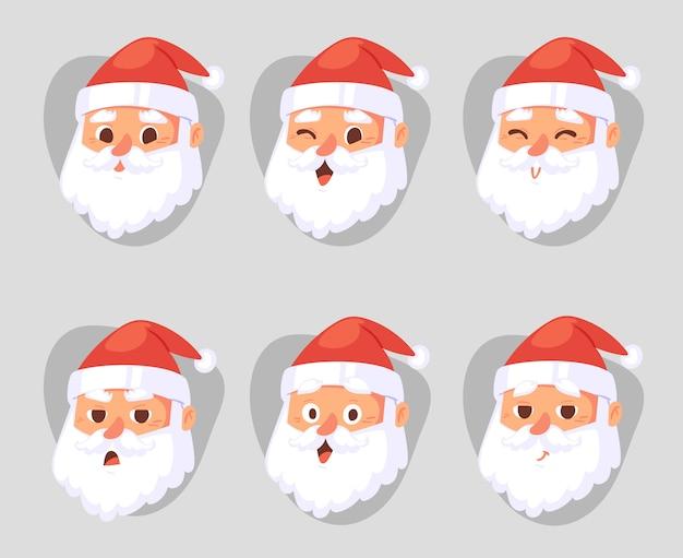 Boże narodzenie głowa świętego mikołaja emocje twarze wyrażenie postać pozuje ilustracja emojji boże narodzenie mężczyzna w czerwonym tradycyjnym stroju i santa hat