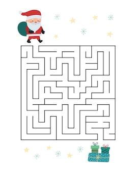 Boże narodzenie gra labirynt dla dzieci. pomóż mikołajowi znaleźć sposób na prezenty