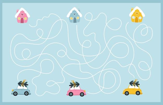 Boże narodzenie gra w labiryncie. znajdź drogę kolorowych samochodów do ich domu. gra planszowa dla rozwoju dziecka. zabawne wakacje.