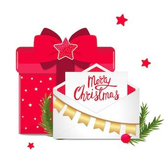 Boże narodzenie gratulacyjny transparent z pudełko i pocztówki w kopercie z dekoracją.