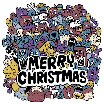 Boże narodzenie gryzmoły. ręcznie rysowane ilustracje świąteczne, nowoczesne elementy projektu na kartkę z życzeniami świątecznymi, każdy na osobnej warstwie