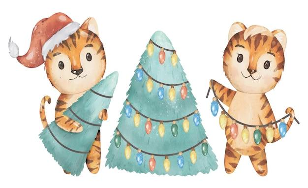 Boże narodzenie i 2022 nowy rok ilustracja szczęśliwy tygrys rodzina wektor akwarela projekt
