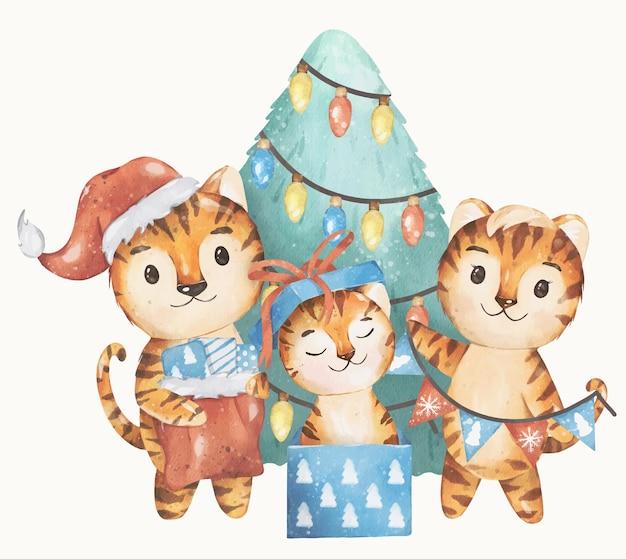 Boże Narodzenie I 2022 Nowy Rok Ilustracja Szczęśliwy Tygrys Rodzina Wektor Akwarela Projekt Premium Wektorów