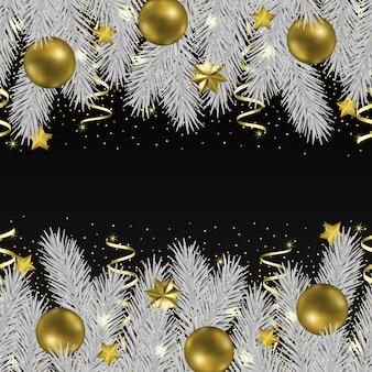 Boże narodzenie i nowy rok bezszwowe obramowanie z szablonem brokatu i jodły z tekstem plac