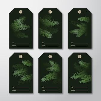 Boże narodzenie i nowy rok gotowe do użycia tagi prezentowe lub zestaw szablonów etykiet.