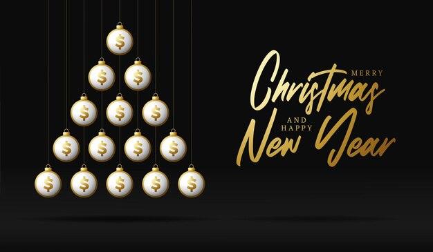 Boże narodzenie i nowy rok kartkę z życzeniami. kreatywne drzewo xmas wykonane przez błyszczące kulki dolara pieniędzy na czarnym tle na boże narodzenie i nowy rok ilustracji wektorowych